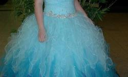 Purchased new from Bliss Prom in Jamestown, ND for 2012 Jamestown High School prom. Original price $600 We bought for Bismarck's Century High School 2013 prom. Dress has been worn 2 times total. Tagged as a size 14, but the hips are free size