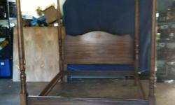 Solid Oak Queen Size Bed. Five slats included.