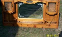 Queen Size Headboard. Good condition with glass cabinets & lights, along with mirror.