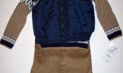 "QUILTED VEST - SWEATER - PANTS SET (3 PC) ""Baby Togs"". Navy nylon quilted vest, with a beige and navy fairisle sweater, and tan corduroy pants. It doesn't get any better than this!  Sizes 2t and 4t.   To purchase visit:"