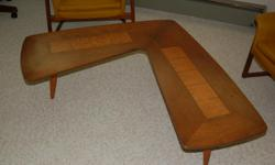 AWESOME FURNITURE..... BOOMERANG SHAPE TABLE, ALSO WOOD AND CORK TABLE LAMP, 2 SWIVEL CHAIRS, ALL IN FANTASTIC CONDITION FOR AGE.... QUALITY PIECES... FOR MORE INFO GO TO WWW.TOPHATSELLS.COM CAN BE PURCHASED AS SET OR INDIVIDUALLY.... CAN BE SEEN AT 3774