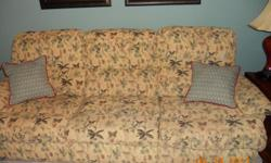 """90"""" Floral Sofa with recliners 65"""" Matching Floral Loveseat with recliners Will sell separately. Pale yellow background with botanical florals of teal, some reds, little black Excellent condition - Pet free and non smoking home. Price negotiable"""