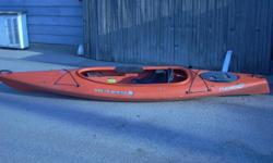 Wilderness brand, Pungo model, 12.5 feet long, moded plastic, 28 inches wide and very stable. the cockpit is extra big, 50 inches, by 20 wide, for ease in getting in and out, has a waterproof storage hatch in the back and a removeable plactic tray