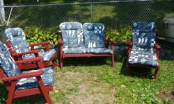 Redwood Patio Furniture with Cushions (Good Condition) Lounge Chair, Love Seat, Rocker and Chair. For more information Call 318-473-4494 and/or Leave a Message or E-mail me at jecbdc@atlanticbb.net.
