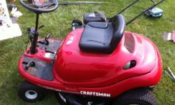 Craftsman ridding lawn mower runs great, needs repair forward and reverse cables need adjusting. 17 inch weed wacker needs a spring $25.00 weber gas grill $50.00