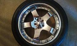 """4 20"""" CHROME RIMS AND GOOD YEAR TIRES"""