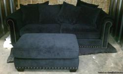 Robert Michaels Panache Furniture Set All Black. Couch Dimensions: L-94.5 H-39 D- 46.5. Ottoman Dimensions: L-42 H-19 D-27. Robert Michaels Furniture is constructed using Alder Hardwood Frames, heavy gauge sinuous wire seating systems and high density