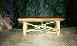 4 FOOT RUSTIC CEDAR LOG BENCH. BUILT BY FLAT SHOALS RUSTIC FURNITURE COMPANY WILL BE OFFERED FOR SALE ONE DAY ONLY AT THE CHATTANOOGA MARKET ON CARTER STREET IN CHATTANOOGA. OPEN FROM 11:00 A.M. TILL 4:00 P.M. ON SUNDAY MAY 15, 2011. WE ALSO WILL HAVE A