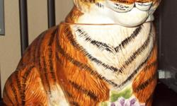 """BEAUTIFUL TIGER COOKIE JAR Sakuria Brand, Stephanie Stouffer design. Hand painted surface, hand wash only. NOT FOR DISHWASHER 11 1/2"""" high by 7"""" wide. Used for display only, never used. No chips, shiny condition! PICK UP ONLY. Will not ship and risk"""