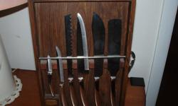 5 Piece set of Saladmaster Carving Knives. Made of 440 carbon steel alloy to keep the blades sharp. In original box. Call --