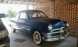 Two DOOR 1950 FORD COUP, BLUE IN COLOR, WHITE SIDE WALL TIRES, COMPETELY RE DONE FROM GROUND UP LEATHER SEATS AND DOOR PANNELS. MOTOR RE DONE, RUNS GREAT. THIS CAR IS IN HAMPTON AR. TLEPHONE # 870-818-9277, WILL SEND PICTURES IF INTERESTED.
