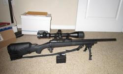 """Has new cordura case. New, Millett, 4x16x50mm side focus scope with lighted reticle. 1 in 10 twist heavy 20"""" barrel, 320 rounds of new FMJ ammo. Call 806-282-5140, Canyon, Tx. $800.00 cash only. 10 round custom mag shown is $100.00 extra"""