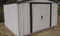 Metal Storage Shed with attached wood base. $249 or make an offer. Call 970-531-0271. (Call 24/7). dltime@hotmail.com. (Please no soliciting/ junk calls/ junk texts/ spam.) Brand: Arrow. Model: Newburgh. Size/ dimensions: Width (aka front of shed): 10
