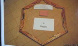 Also called Pegs and Jokers Game includes: 6 cherry-wood(felt-backed) game boards Instructions. Can be played with 2 to 6 players 2 decks of cards 30 plus (6 extra) pegs. 6 ea. of different colors FUN GAME FOR 7 TO 80 YEAR OLD PLAYERS