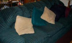 Chair, love seat, and sofa beautifulrich green color. Call -- for details or topurchase.