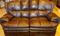Leather reclinging Sofa. leather reclining Loveseat. 2 Matching Leather Recliners. All Excellent Condition. Call. --
