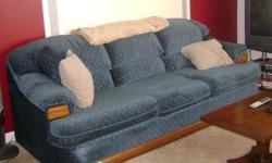 Sofa is a about 7ft. long, loveseat is about 5ft. long; dark blue with tan colored freckles; solid wood base. Rarely used over the years, still sits firmly, no damages or stains, in excellent condition. You are responsible for hauling all furniture, we