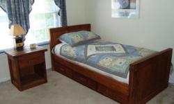 twin captains bed with 3 storage draws bedside table dresser with mirrow chest student desk with chair 2 bookcases