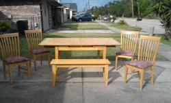 One chair has some damage as shown in the picture. The table has two leaves it andhas normal ware. LOCALS ONLY....