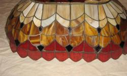 THIS STAINED GLASS SHADE WAS MADE BY A HOBBYIST SOME PCS. MISSING, HAVE WHITE AND TAN GLASS AND SOLDER TAPE AND FLUX HAVE A FEW TOP PCS. THAT ARE MISSING NO RED TWO GONE SEE PICS