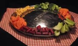"""This early 70's serving tray is perfect for any backyard BBQ. 15"""" is able to hold a lot of your favorite snacks. It can double as a hubcap on Friday nite when yur tryin to impress yur favorite gal! Warning: Don't be fooled by novelty and gadget Web sites"""