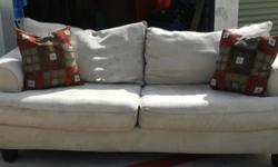 For sale: Matching sofa and loveseat, beige suede microfiber. Original price - $1200. Asking $350. Comes with matching throw pillows and blue covers. Contact Rus at --