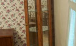Tall Wooden Corner Cupboard Lighted Glass Shelves Glass Door