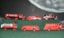 These five beautifuly detailed, dye cast, change banks are in excellant condition. A great looking display for anyLads room regardless how old. The sixth truck is a coastal wrecker and is added as a bonus to my puchaser. We are pay pal verified or