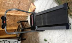 Working tread mill with calorie count and time.It has speed setting on it. There is no incline, just single level. Folds up for easy storage. Call/text ) -
