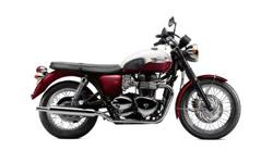 This Triumph Bonneville T100 is Cranberry and Fusion White. It's got a two-year, unlimited mileage warranty. Call Tom at -- or stop by the new shop at 3656 Wheeler Rd. Augusta, GA augustatriumph@att.net Be sure to mention any specials that are