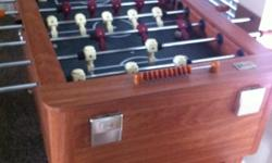 This table is well taken care of and in EXCELLENT condition. It has been played on less than 50 times...but does have a few minor dings from storage. It is a TSA foosball table (very sturdy!) with adjustable pads on the base of each leg. There are four