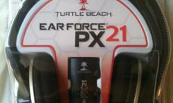 Brand new still sealed Turtle Beach Ear Force PX21 headset for sale. Works with PS3, XBox 360, PC and Mac. Here is the Turtle Beach link for more information : http://www.turtlebeach.com/products/ps3-gaming-headsets/ear-force-px21.aspx Cash and pick up
