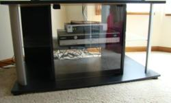 Tv stand black laminate with glass shelves and door