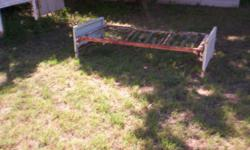All metal, including head and foot boards. ( also have twin size with wood head and foot boards. ) $30.00 which includes the springs. Please email if you have any questions and also please include a phone number.