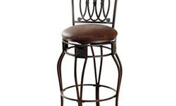 "Selling Montello Swivel barstools as a pair. Barstools are old-steel finish with interlocking circles and intricate castings of the Montello barstool. Elegnatly curved legs Luxurious brown faux leather seat 360 swivel 30"" bar height"