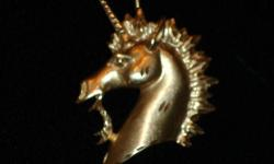 """Unicorn Lovers! A one-of-a-kind Custom Made Unicorn Pendant/Charm Solid 14k Gold Measures: 2"""" h x 1.5"""" w Approximate weight: 11.4 grams MAKE A STATEMENT w/ THIS VERY UNIQUE PIECE! SALE price on this charm! Gold is almost at $1900.00 an ounce. 31 grams ="""