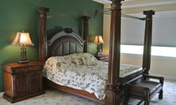 Upscale King Bedroom Set-6PC. Pristine---Like New Condition!! Top of the Line-King Poster Bed, 2 Night Stands, Dresser Chest, Hutch/Armoire, and Bench! Save Thousands!