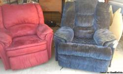 Storage clean-out! Two recliners, good condition, one burgundy suede-like standard sized, and one blueover-sized wall-hugger, $50 each or $75 pair. 46-inch Sharp flatscreen, 1080dpi, 5 years old, $500. Oak finished TV cabinet stand $100. Three