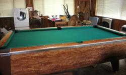 THIS IS A VALLEY POOL TABLE. NOT A CHEAP MODEL. IT IS VERY STUDY, THE KIND PEOPLE PLAY IN CLUBS. IT IS IN GOOD SHAPE. COMES WITH CUE STICKS. HAVE TO SEE TO APPRECIATE. PROVIDES LOTS OF FUN FOR THE WHOLE FAMILY.