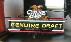 Vintage Neon Miller Genuine Draft Lighted Beer Sign, Lights up Works and Looks Great Call me to set up a time to view