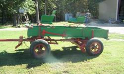 2 Horse drawn wagons in good condition. Smaller wagon has spring seats, rubber tires. Great for parades and trail rides.