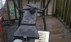 Cement free weight bench with dumbbells & cement weights.. Used twice.. Great condition.. Basically brand new.. Taking up space