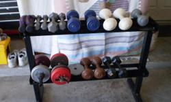 Weight rack including weights