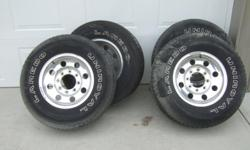 Aluminum wheels and tires for Ford 2000 truck or newer 8 inches wide 16s