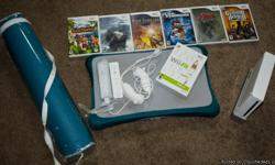 Used but in really good condition and Just in time for Christmas too. Wii Game System comes with two controlers and two chucks, Wii fit and five additional games Cursed Mountian, Zelda, Alien Syndrome, Fire Emblem and Sims Cast away, Floor Mat and Guitar
