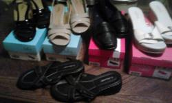 5 pairs of women's shoes, size 11. 3 are new and 2 are almost new. These are very nice and are from dress to casual shoes.  NO E-MAILS and NO TEXTS. Phone calls only. (863) 450-4708.