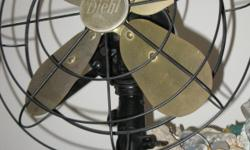 Excellent shape, 3 working speeds, 4 brass blade, 13.5 inch Diehl antique fan (division of Singer). Great deal $ 350.00