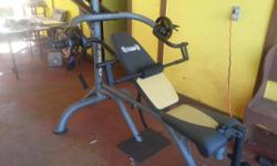 Dunlap -- Hardly used, has one set of 5lb and one set 10lb weights.Also included is brand new weigh rack never put together. CASH only