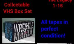 "WrestleMania 1-15 ""The Legacy"" Collectable VHS Box Set All tapes in perfect condition! This set sells for $199-$499 used on Amazon! (http://www.amazon.com/gp/aw/ol/B00004RFE5/ref=olp_tab_used?ie=UTF8&condition=used) Asking ONLY $99 obo! (Located in West"