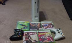 xbox 360 with 2 controller and 5 games